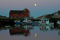 Moonrise at Motif #1 in Rockport, MA