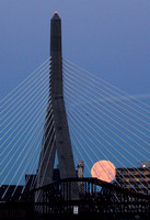 Moonset at the Zakim Bridge